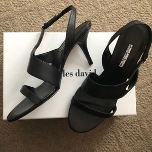Charles David black leather kitten heel sandal 11